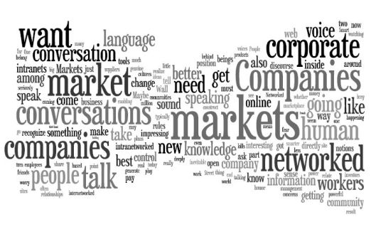 cluetrain wordle, created by Tobias Dennehy on wordle.net